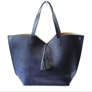 Neiman Marcus Navy Blue Faux Leather Tote